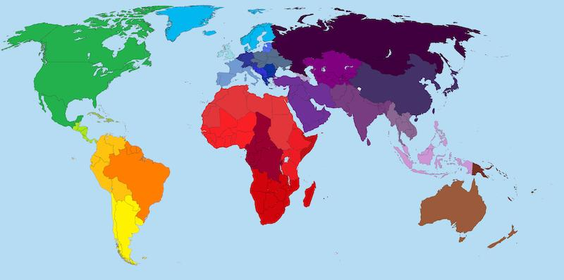 World map used for blog on cultural differences